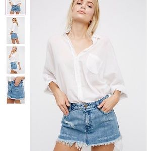 Free People Cute to Boot denim jeans mini skirt